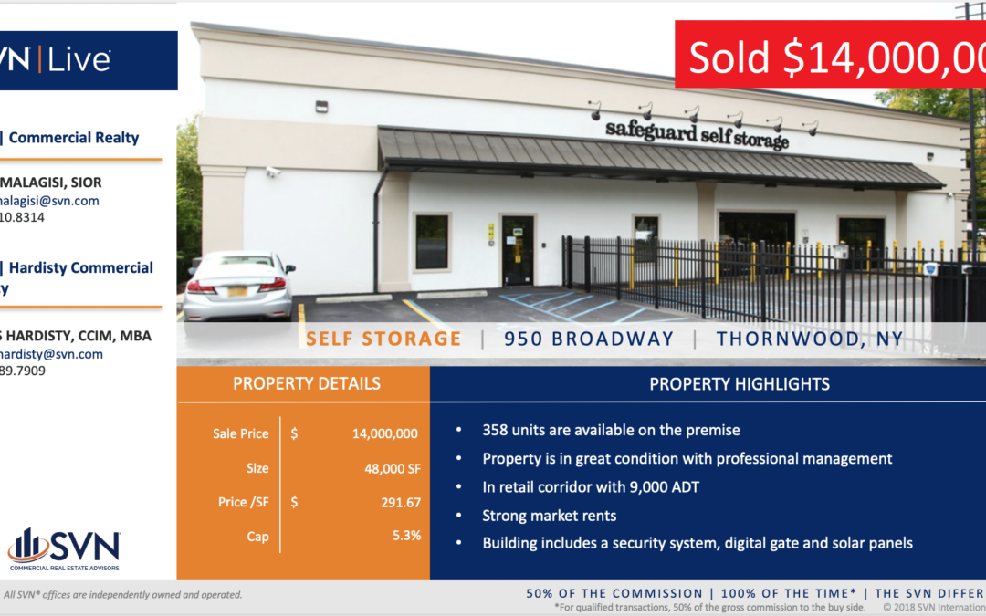 Hardisty and Malagisi of SVN Sell $14,000,000 Storage Property