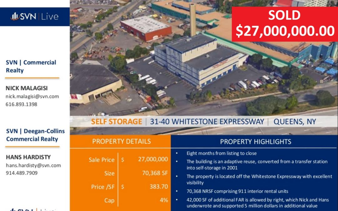 Hardisty and Malagisi Sell $28 Million Dollar Self Storage Facility